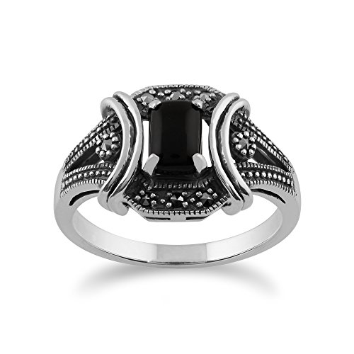 925 Sterling Silver Black Onyx & Marcasite Art Deco Ring