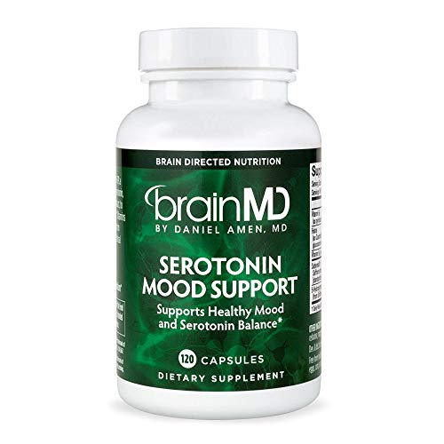 Dr. Amen brainMD Serotonin Mood Support - 120 Capsules - Promotes Tranquil Mind & Body, Supports Calm, Emotional Balance & Healthy Weight Management - 30 Servings (Best Fast Acting Antidepressant)