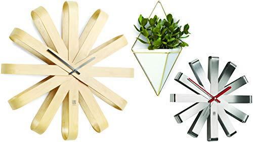 (Umbra Wall Clocks and Display - Bundle of 3 Items: Ribbonwood Wall Clock 20.25
