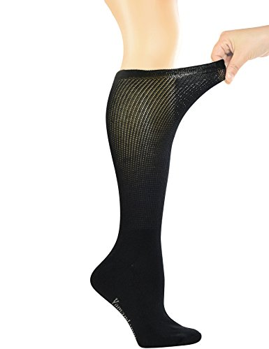 Yomandamor Women's Non-binding Lace Bamboo Knee-Hi Boot Diabetic Socks with Seamless Toe,4 Pairs by Yomandamor (Image #1)