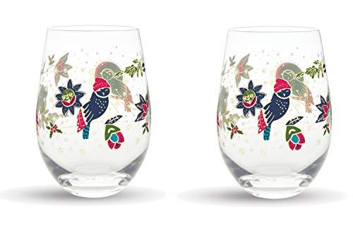 Vera Bradley Holiday Stemless Wine Glass Set of 2, Dishwasher Safe, 16oz (Owl)