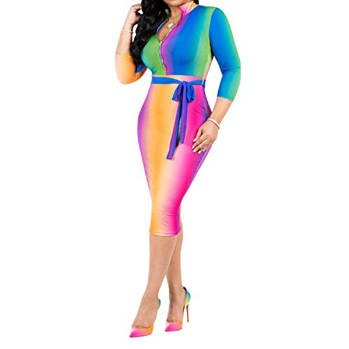 Clothing Rainbow Dresses Womens Belt (Womens Bodycon Dresses Party - Sexy 3/4 Sleeve V-Neck Zipper Floral Club Plus Size Sheath Midi Dress with Belt Rainbow 2X-Large)