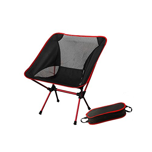 Oversized Aluminum Folding Cot - Artwell Folding Camping Chair Ultralight Portable Backpacking Chair Outdoor Beach Chair with Carry Bag Heavy Duty 330 lb for Hiking Fishing BBQ Picnic Climbing Travel (Red)