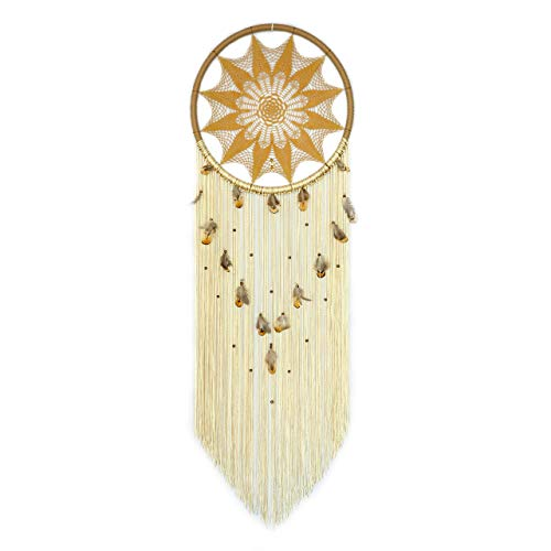 Large Yellow Mustard Dream Catcher With Feathers And Wooden Beads Dreamcatcher Wall Hanging Boho Bedroom Decor Fiber Wall Art Bohemian Gift Dia 18
