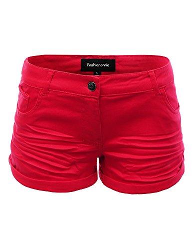 FASHIONOMIC Women's Juniors Cotton Casual Cuffed Button Closure Ultra Stretchy Thigh High Shorts by FASHIONOMIC