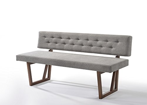 Limari Home LIM-73980 Vivian Collection Modern Style Fabric Upholstered Dining Bench with Solid Rubberwood Legs, Grey & Walnut