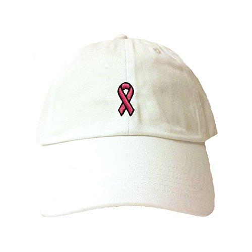 Adjustable White Adult Breast Cancer Ribbon Embroidered Dad (Cancer Adjustable Hat)