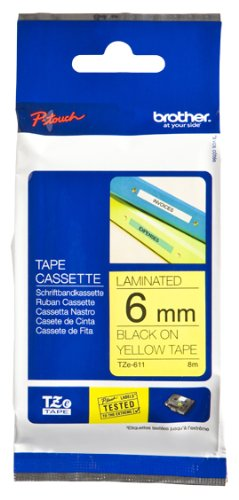 Brother TZe-611 Laminated 6mm Tape Cassette (Black on Yellow) by Brother (Image #2)