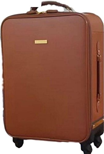 JOY & IMAN Genuine Leather Luxury City Carry-On Dresser Suitcase, Whiskey (Suitcase Dresser)