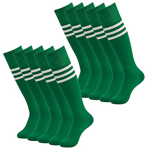 Youth Football Socks, SUTTOS Unisex Over The Calf Athletic High School Uniforms Softball Lacrosse Knee High Socks Green,10 Pairs ()