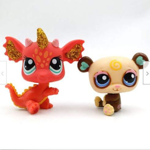 2pcs #1495 #2484 Panda Bear Red Sparkle Dragon Gift Littlest Pet Shop LPS Toys