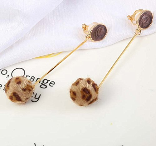 Clip on Earring Backs with Pads Dangle Leopard Texture Fur Ball for Women Girls Kids Jewelry Gift Box