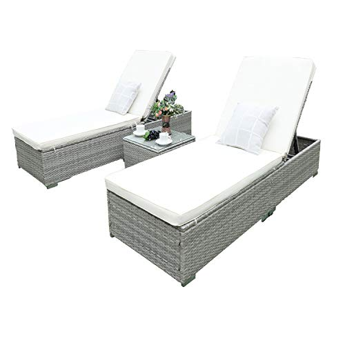 Merveilleux Outdoor Chaise Lounge, HTTH Easy To Assemble Chaise Longue, Thick U0026 Comfy  Cushion Wicker