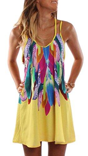 Strap Women Jaycargogo Yellow Summer Dress Spaghetti Floral Fashion Beach dXdq7Bw