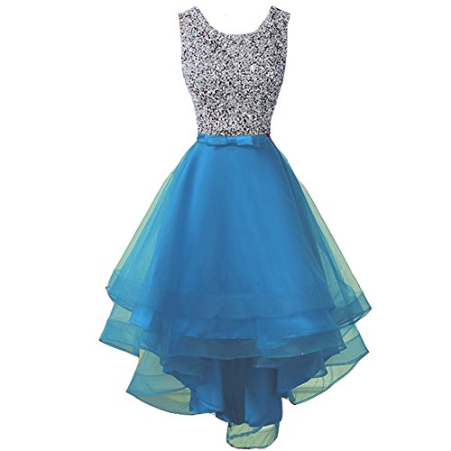 Lemai Sheer Beaded High Low Open Back Formal Prom Evening Homecoming Dresses Blue US 6
