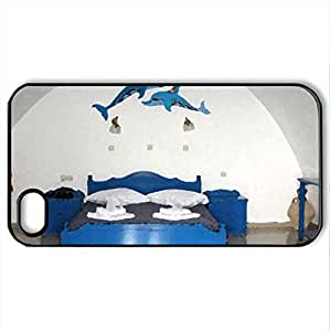 Hotel Room in Santorini - Case Cover for iPhone 4 and 4s (Houses Series, Watercolor style, Black)