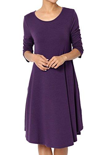 TheMogan Women's 3/4 Sleeve Trapeze Knit Pocket T-Shirt Dress Dark Purple 1XL by TheMogan (Image #1)