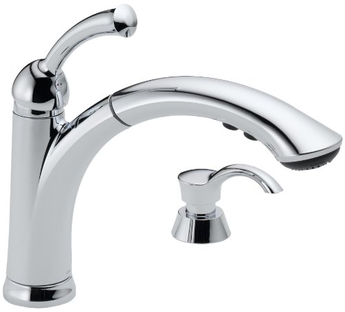 Delta 16926-SD-DST Lewiston Single Handle Pull-Out Kitchen Faucet with Soap Dispenser, (Classic Series Soap Dispenser)