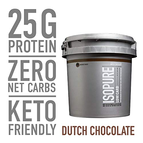 Isopure Low Carb, Keto Friendly Protein Powder, 100% Whey Protein Isolate, Flavor: Dutch Chocolate, 7.5 Pounds