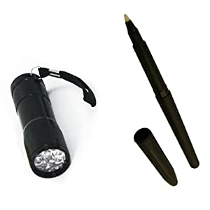 Ultraviolet 9 LED Super Bright Compact Flashlight & UV Invisible Ink Spy Pen ...