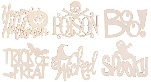 Set SIX (6) Spooky Halloween Laser Cut Unfinished Wood Cutout Signs - 5