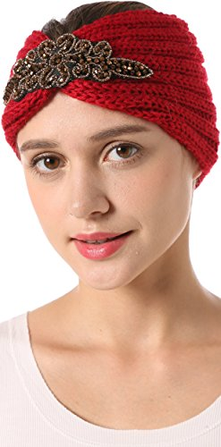 Vibrant Red Wool Hat (Ababalaya Women's Stretchable Rhinestones Flower Winter Warm Wide Knitted Headwrap Headband,Burgundy)