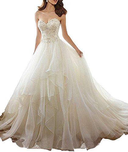 e a Abito senza Bianco sposa scollo da spalline cuore da con corsetto sposa ArAZqnx