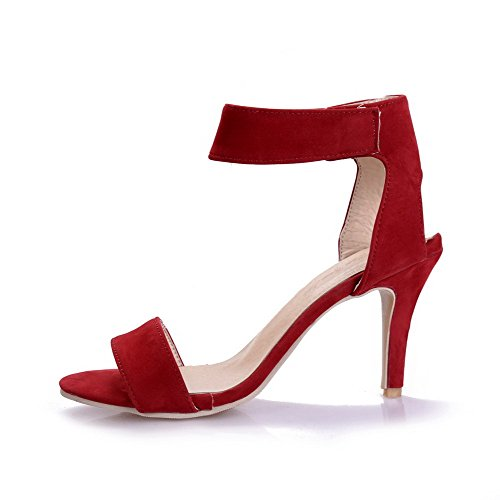 AmoonyFashion Womens Open Toe High-Heels Frosted Solid Hook-and-loop Heeled-Sandals Red aFEWpS5Xo