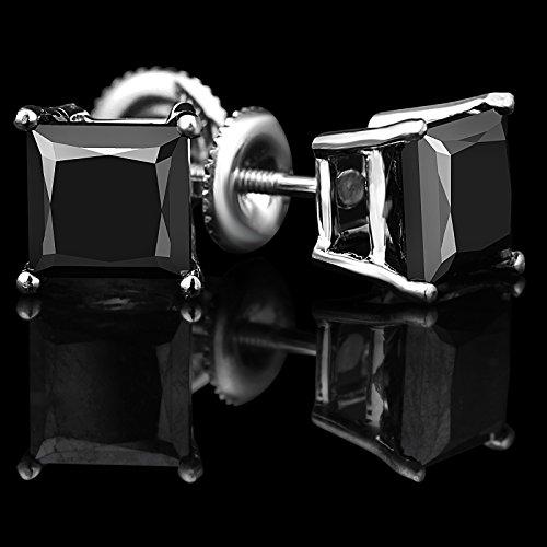 1/3ct Solitaire Noir diamant princesse Boucles d'oreille à tige en or blanc 14K avec attaches à vis