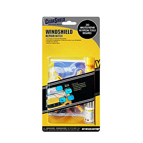 Clearshield DIY Windshield Repair Kit - Auto Glass Rock Chip Repair Kit for Star Horseshoe Bull's Eye Chips or Cracks - No Need to Replace the Whole Windshield - with Instructions (1 Pack)
