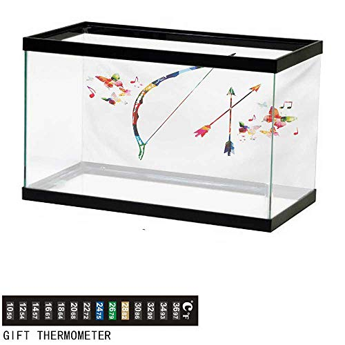 Bow Floral Ships Large (wwwhsl Aquarium Background,Modern,Abstract Unusual Bow and Arrow with Butterflies Music Notes Floral Design Print,Multicolor Fish Tank Backdrop 24