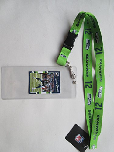 - SEATTLE SEAHAWKS GREEN 12TH MAN LANYARDS WITH TICKET HOLDER PLUS COLLECTIBLE PLAYER CARD