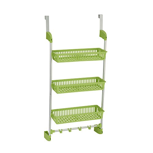 Household Essentials 3-Tier Basket Over-The-Door Organizer with Hooks, Lime