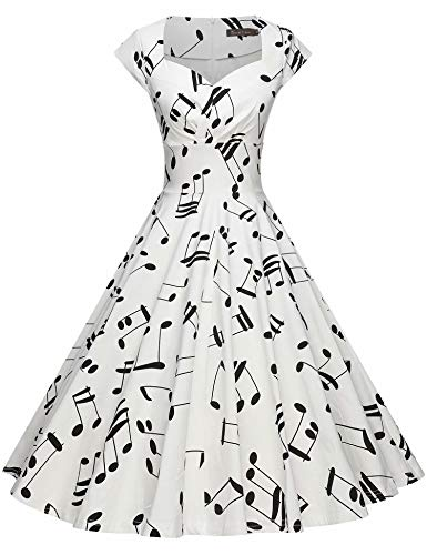 Music Music Black Cap - GownTown Womens Dresses Party Dresses 1950s Vintage Dresses Swing Stretchy Dresses