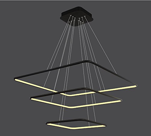 Royal pearl modern square led chandelier adjustable hanging light royal pearl modern square led chandelier adjustable hanging light three ring collection contemporary ceiling pendant light mozeypictures Gallery