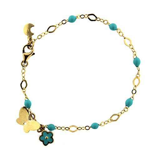 18k Yellow Gold Turquoise Enamel Beads 6 inches Bracelet with One Butterfly and One Turquoise Enamel Flower Pendant by Amalia