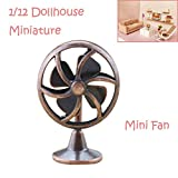 Drum Kit Coffee Table Gbell Mini Old Fashioned Lobby Fan for 1/6 Or 1/12 Miniature Dollhouse,Doll Accessories Little Girls Gift Toy (♥ Bronze)