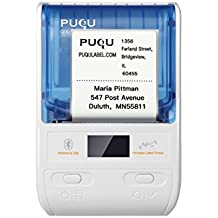 PUQU Portable Bluetooth Address Label Maker,Mini Wireless Thermal Barcode Printer for iOS and Android System with Rechargeable Battery (White)