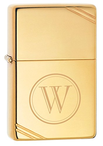 Personalized Zippo Vintage High Polish Brass lighter with free initial laser (Solid Brass High Polish)