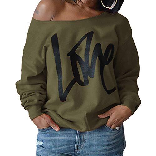 Spalla Spalline Maglietta Solido Xinwcanga Elegante Colore Donna Lunghe Maniche Verde Camicetta Shirt Esercito Senza 4vqnq1fTpw