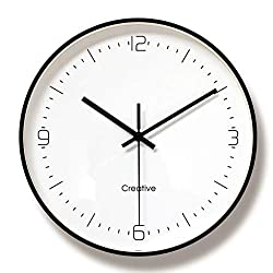 WOFEIYL 12-Inch Modern Quartz Metal Wall Clock, Silent Non-Ticking Fashion Digital Round Wall Decorative Wall Clock, Living Room/Bedroom/Dining Room Can Be Hung, Gold