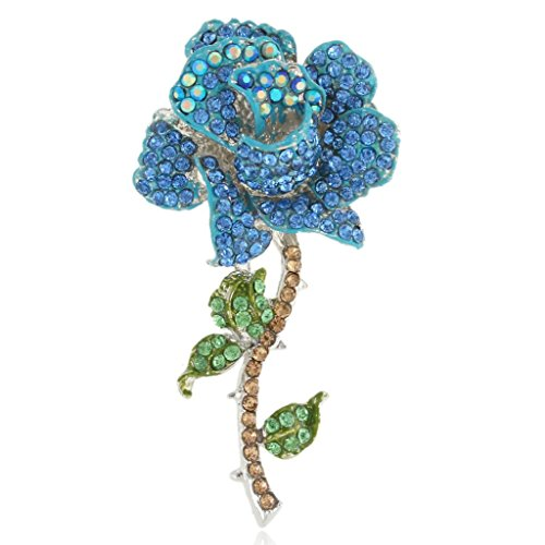 EVER FAITH Women's Austrian Crystal Blooming Rose Flower Leaves Prom Brooch Blue Silver-Tone (Leaf Brooch Silver Pin Tone)