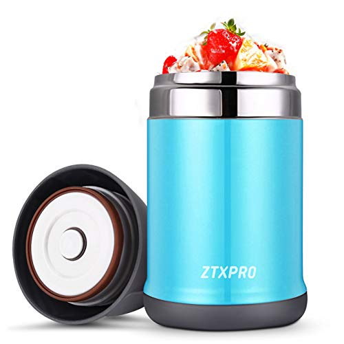 Cold Food Storage Container - Insulated Food Storage Container Thermos Food Jar ZTXPRO Stainless Steel Hot & Cold Vacuum Box with Handle 16 oz Leak Proof Design Lunch Box for Kids School Picnic Office Outdoors - Blue