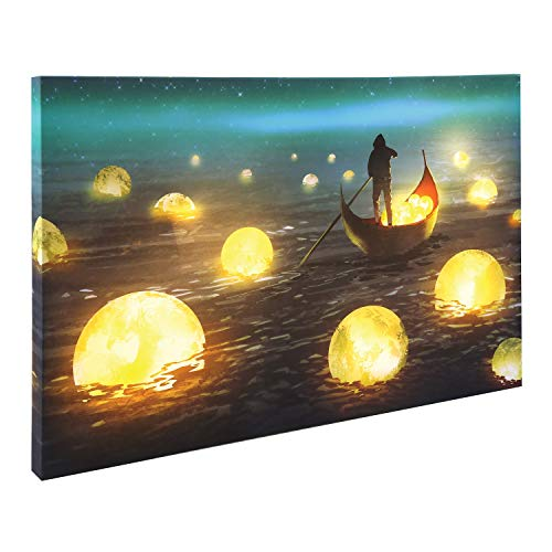 (What on Earth Floating Moons LED Lighted Canvas - Glowing Gondola Wall Art, 15 3/4