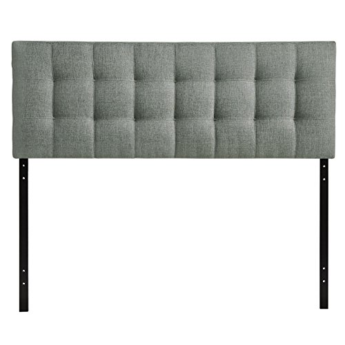 Modway Lily Tufted Linen Fabric Upholstered Queen Headboard in Gray (Fabric Headboard)