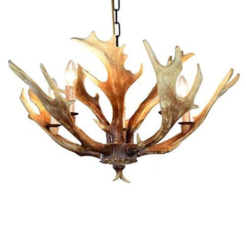 EFFORTINC Vintage Style Resin Deer Horn Antler Chandeliers,5 Lights(Bulbs Not Included)