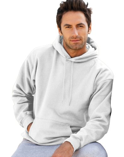 Hanes Mens Ultimate Cotton Pullover Hooded Sweatshirt, Large, White