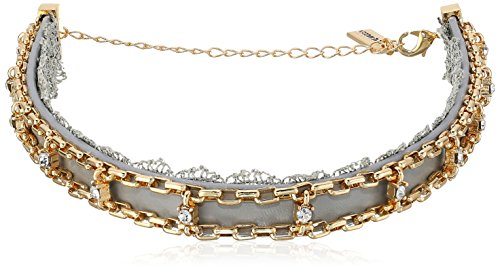 Steve Madden Grey Lace/Leather/Chain Choker Necklace, 11....