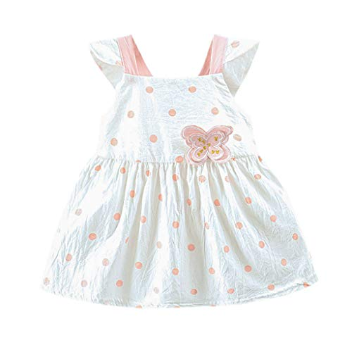 Toddler Baby Girls Clothes Print Ruffle Sveless Summer Breathable Princess One-Piece Skirt Dress Set 6M-24M Pink