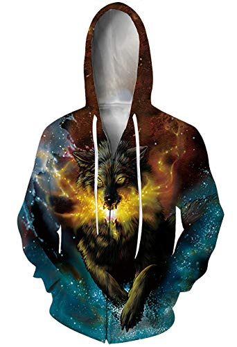 (Goodstoworld 3D Wolf Zip Hoodie Full Print Designer Hoodies 3D Graphic Jackets)